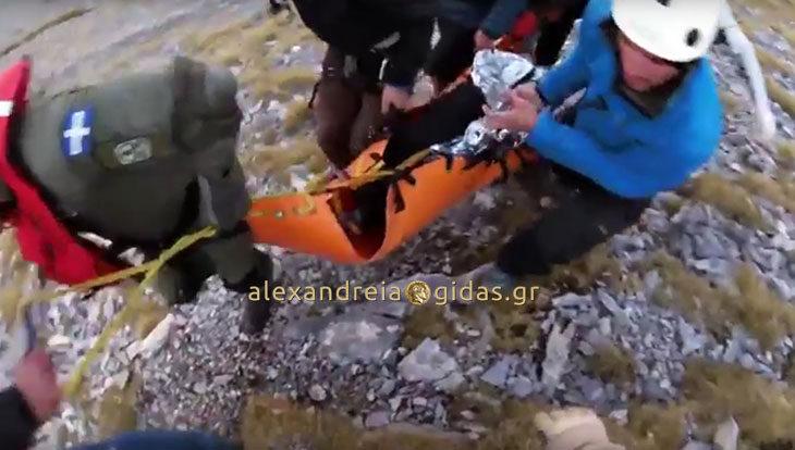 Διάσωση τραυματία στον Όλυμπο που θυμίζει ταινία του σινεμά (βίντεο)