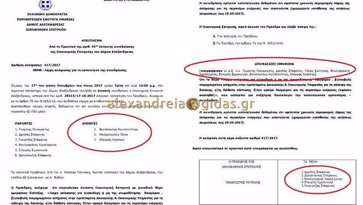 Μέλη «φαντάσματα» ( ; ) στην Οικονομική Επιτροπή του δήμου Αλεξάνδρειας: Ψηφίζουν ενώ είναι απόντες! (ντοκουμέντο)