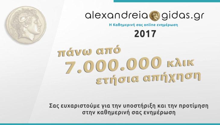 Βούλιαξε το Αλεξάνδρεια-Γιδάς: Πάνω από 7.000.000 κλικ το 2017 – Ευχαριστούμε!