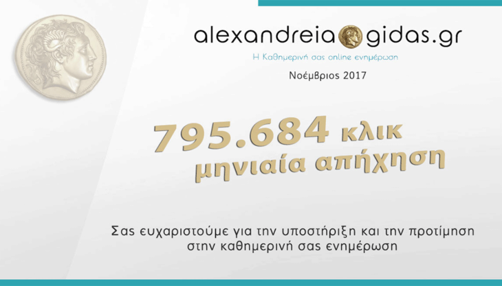 Μας διαβάσατε 795.684 φορές τον Νοέμβριο – Ευχαριστούμε!