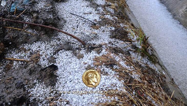 Χαλάζι έπεσε το απόγευμα σε αρκετά χωριά του δήμου Αλεξάνδρειας