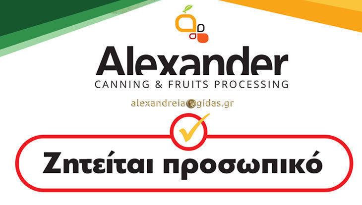 Ζητείται προσωπικό στην εταιρία ALEXANDER στην Ημαθία – κάντε την αίτησή σας