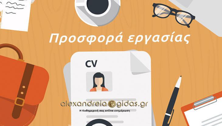 1 θέση εργασίας σε μεγάλη εταιρία του δήμου Αλεξάνδρειας (πληροφορίες)