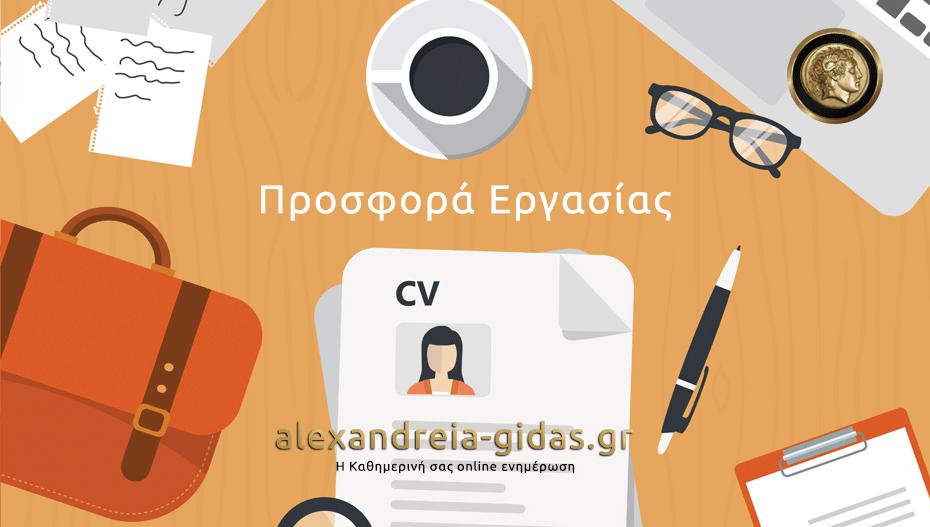 1 θέση εργασίας σε εταιρία με έδρα την Ημαθία (πληροφορίες)