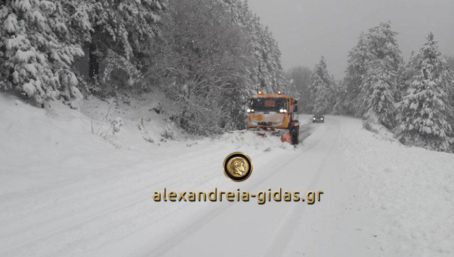 Για δεύτερο 24ωρο καθαρίζουν το χιόνι και ρίχνουν αλάτι στην Ημαθία (φώτο)