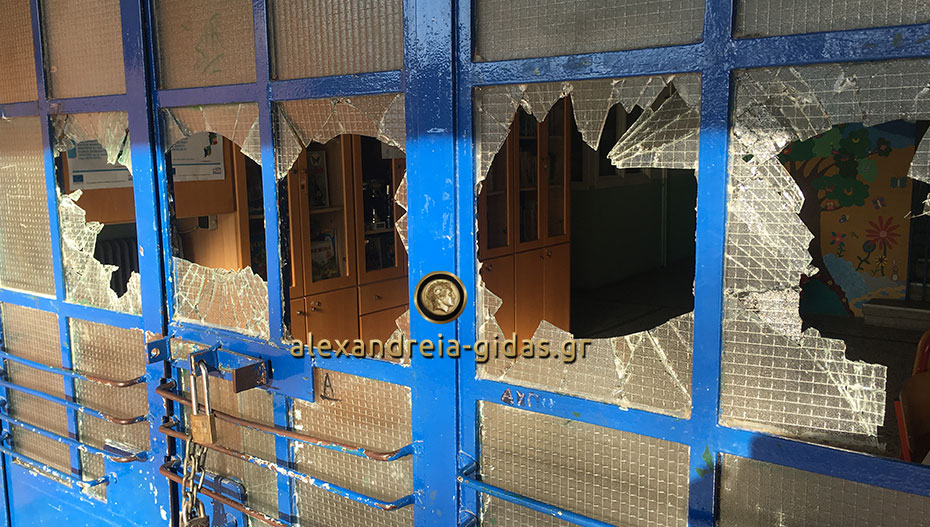 Βανδαλισμοί στα 1ο – 5ο Δημοτικά Αλεξάνδρειας: Έσπασαν την είσοδο του σχολείου (φώτο-βίντεο)