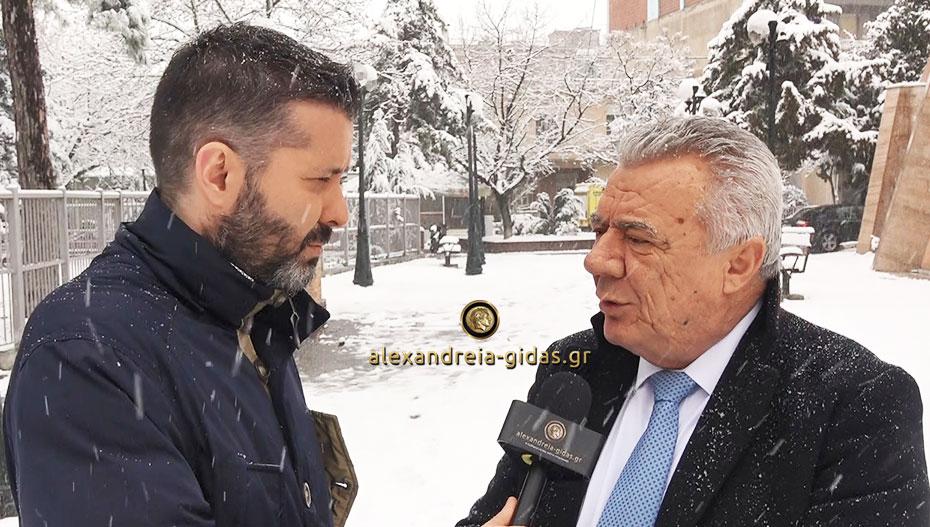 Ο δήμαρχος Αλεξάνδρειας απαντάει για το χιόνι, τις ενέργειες του δήμου και τα σχολεία (βίντεο)