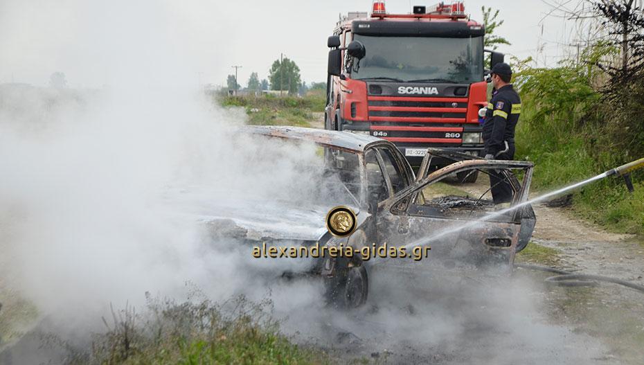 Στις φλόγες αυτοκίνητο σε χωράφι του δήμου Αλεξάνδρειας (εικόνες-βίντεο)