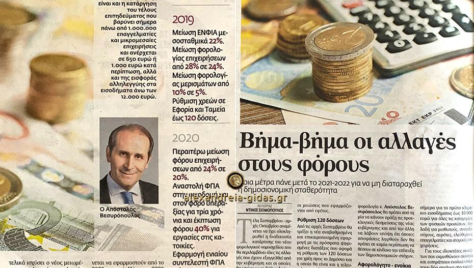 Στο Βήμα της Κυριακής ο Απόστολος Βεσυρόπουλος για τις αλλαγές στους φόρους