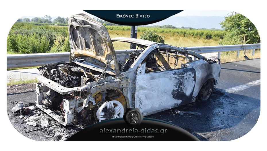 Πριν λίγο: Κάηκε αυτοκίνητο στην Εγνατία ανάμεσα στην Κουλούρα και το Νησέλι