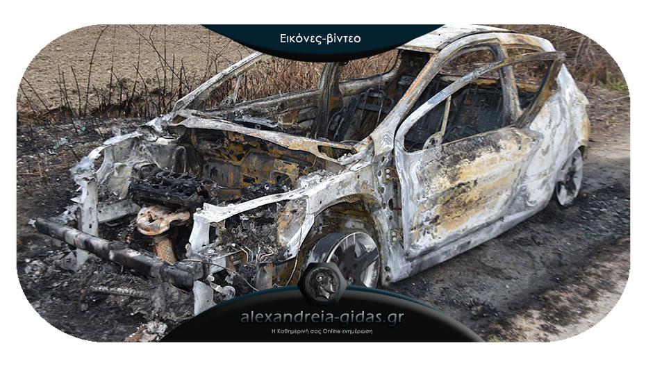 Ένα ακόμα καμένο αυτοκίνητο σε χωράφι του δήμου Αλεξάνδρειας