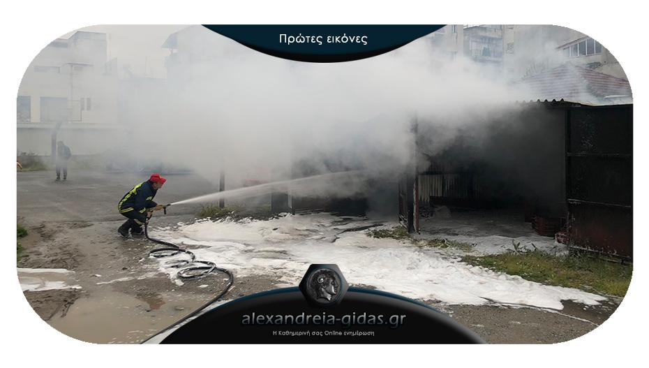 ΤΩΡΑ: Αυτοκίνητο τυλίχθηκε στις φλόγες μέσα σε γκαράζ στην Αλεξάνδρεια