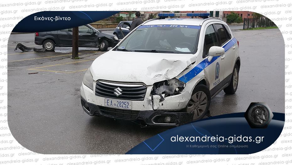 ΤΩΡΑ: Τροχαίο στο παζάρι της Αλεξάνδρειας – συγκρούστηκε Ι.Χ. με περιπολικό
