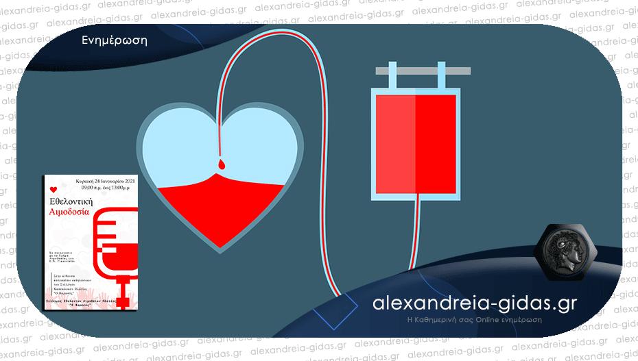 Εθελοντική Αιμοδοσία στις 24 Ιανουαρίου στο Πλατύ
