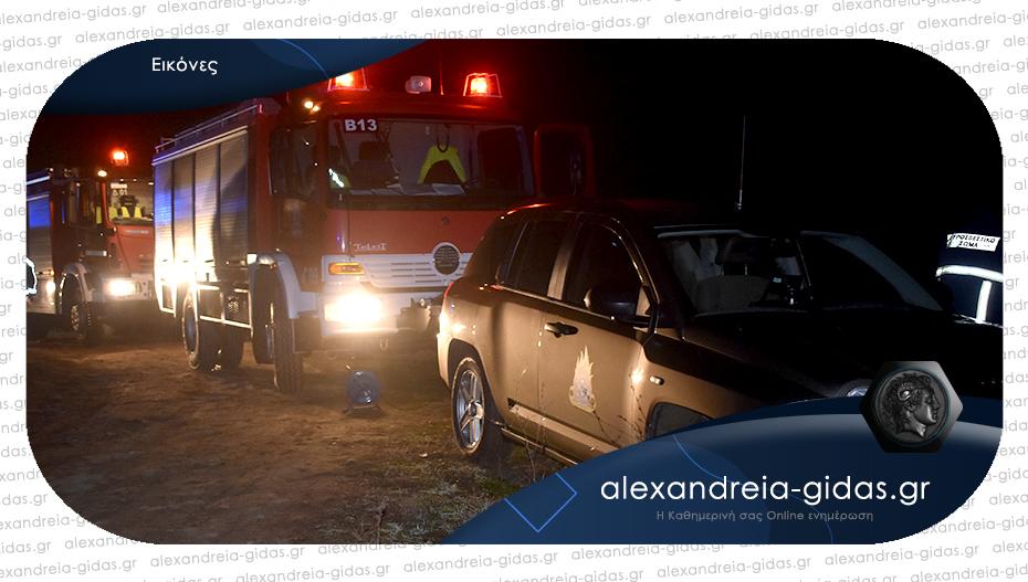 Μεγάλη επιχείρηση ανάμεσα σε Ραψωμανίκη και Κουλούρα – αυτοκίνητο σε κανάλι