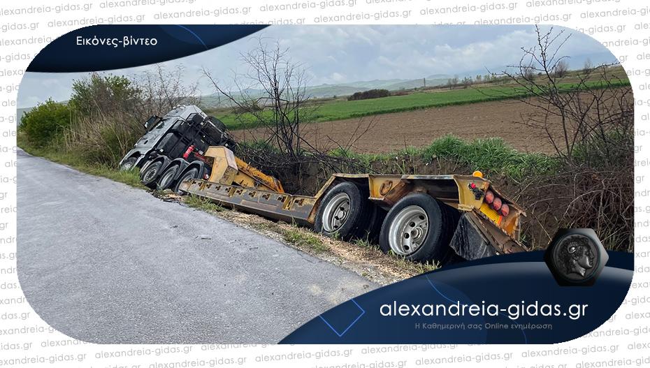 Τροχαίο ατύχημα στη Μελικιώστρατα – φορτηγό μέσα σε κανάλι