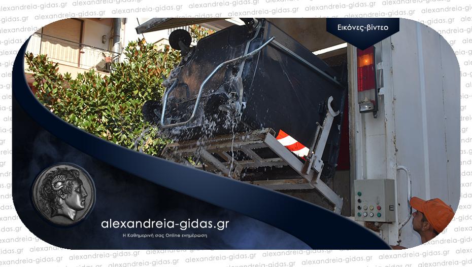 Πλένει τους κάδους απορριμμάτων από το πρωί ο δήμος Αλεξάνδρειας