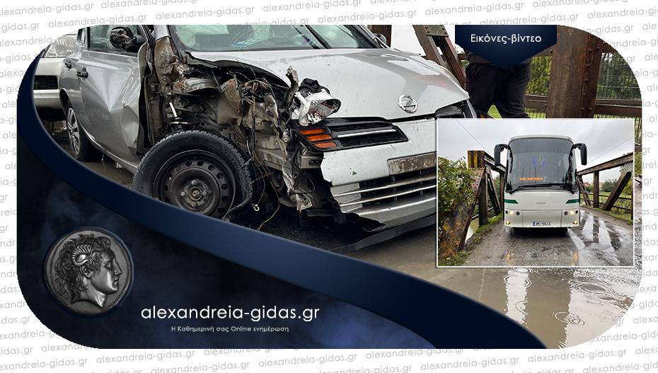 Τροχαίο ατύχημα στη Γέφυρα του Λουδία – συγκρούστηκαν Ι.Χ. με λεωφορείο του ΚΤΕΛ
